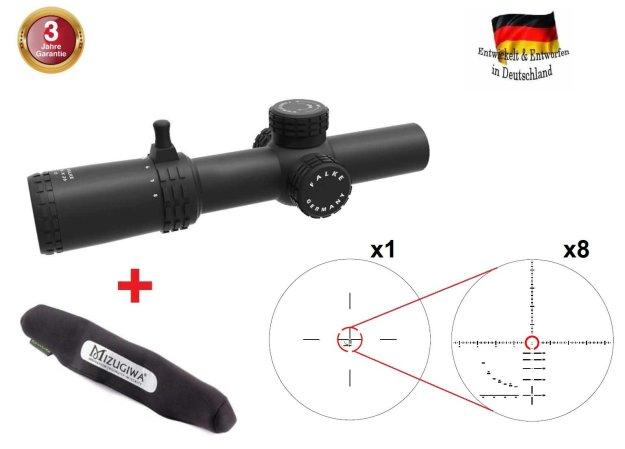 Falke Zielfernrohr 1-8x26 Pro mit SAS Absehen, beleuchtet, 34 mm Mittelrohr Ø