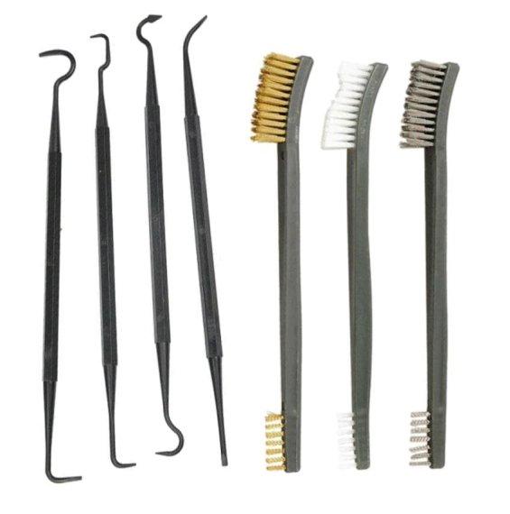 7-Teilige Pick und Bürstenset zur Waffenreinigung aus Nylon, Messing und Stahl