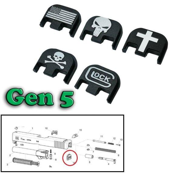 Verschluss-Deckplatte für Glock für Gen 5  aus Aluminium verschiedene Motive eingraviert