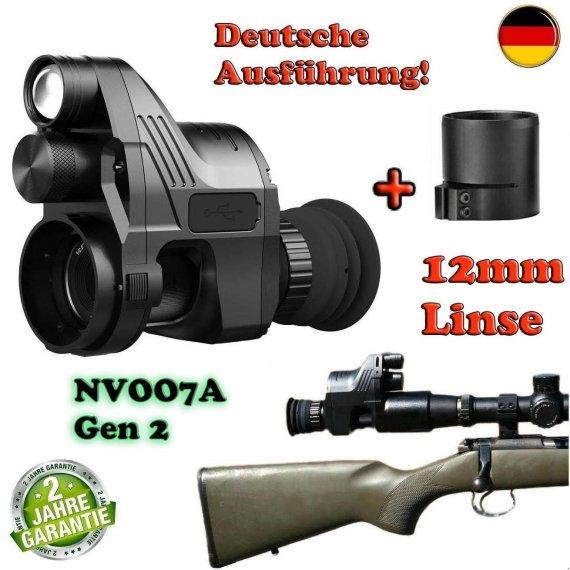 PARD NV007A Gen 2 German-Edition mit 12mm Linse, Nachtsichtgerät mit Okular-Adapter