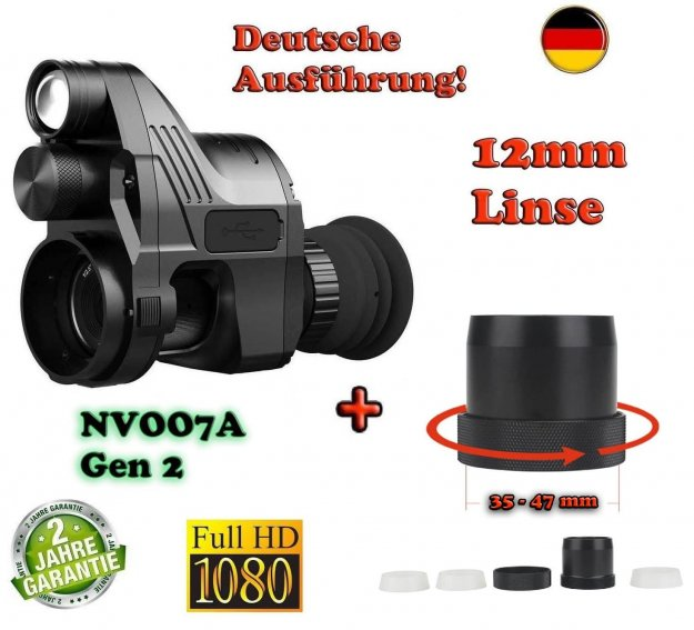 PARD NV007A Gen 2 German-Edition mit 12mm Linse + Universal Schnell-Adapter Set