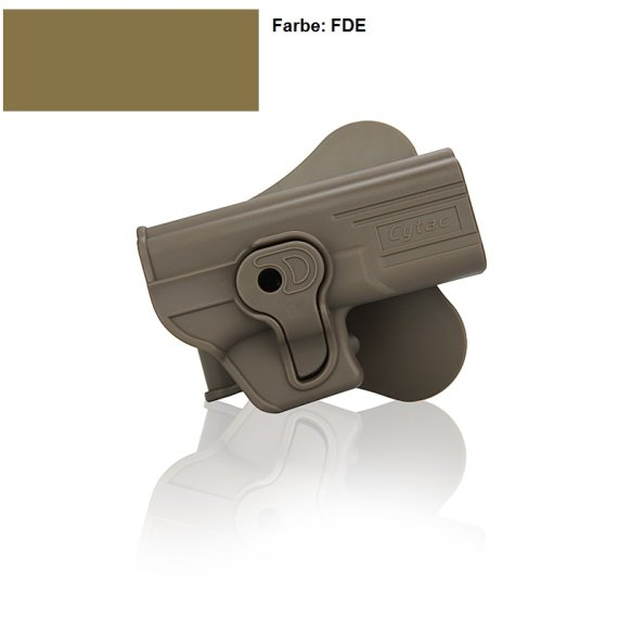 Holster für Glock 17,19, 23, 32 mit Paddle 360° Rotation FDE Farbe