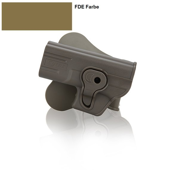 Holster für Glock Linke Hand 17, 19, 23, 32 mit Paddle 360° Rotation FDE Farbe