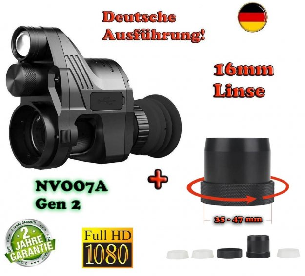 PARD NV007A Gen 2 German-Edition mit 16mm Linse + Universal Schnell-Adapter Set