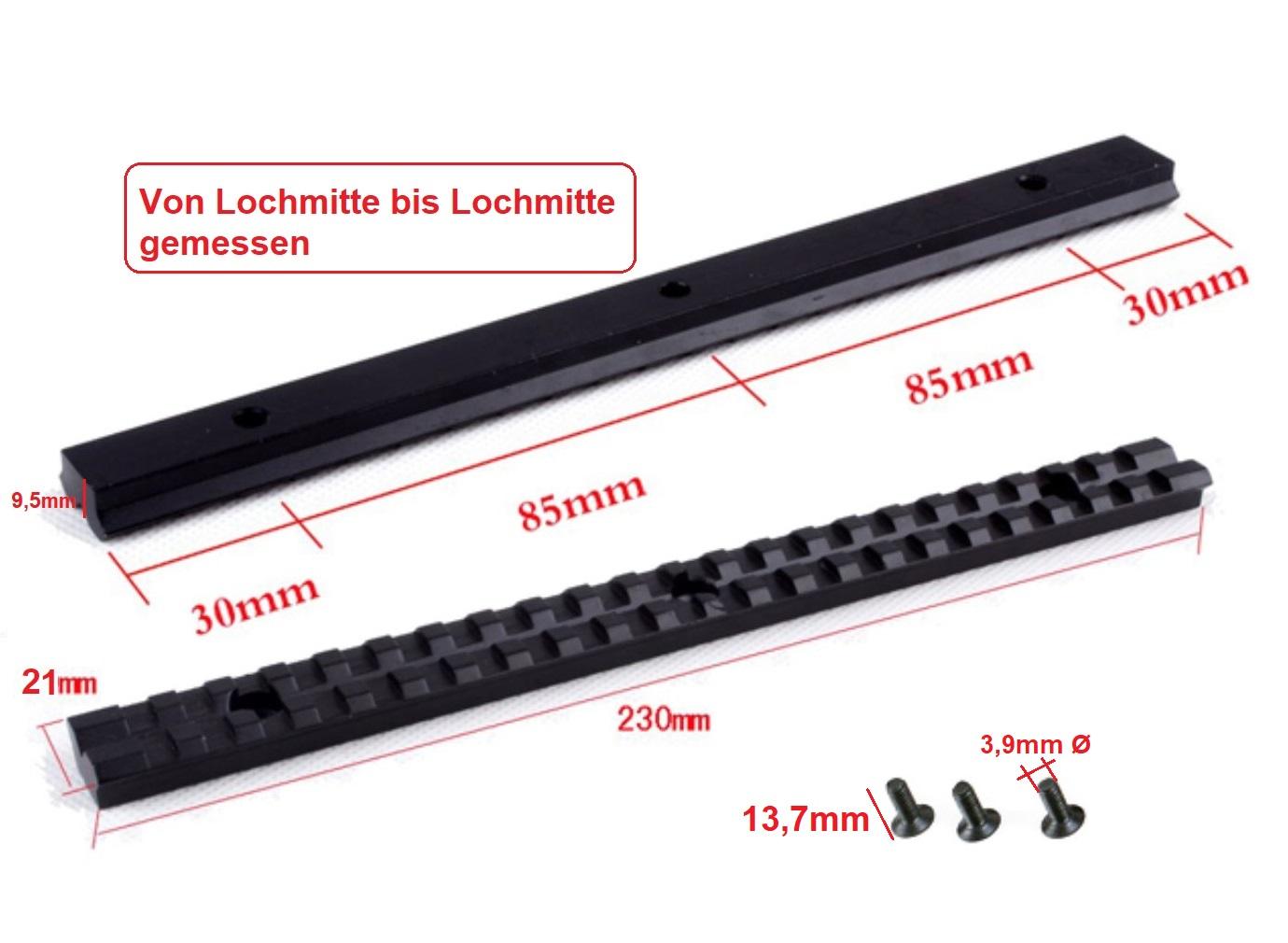 Picatinny Weaver Schiene 230mm lang 21mm flacher Boden 3 Bohrungen Jagd Alu