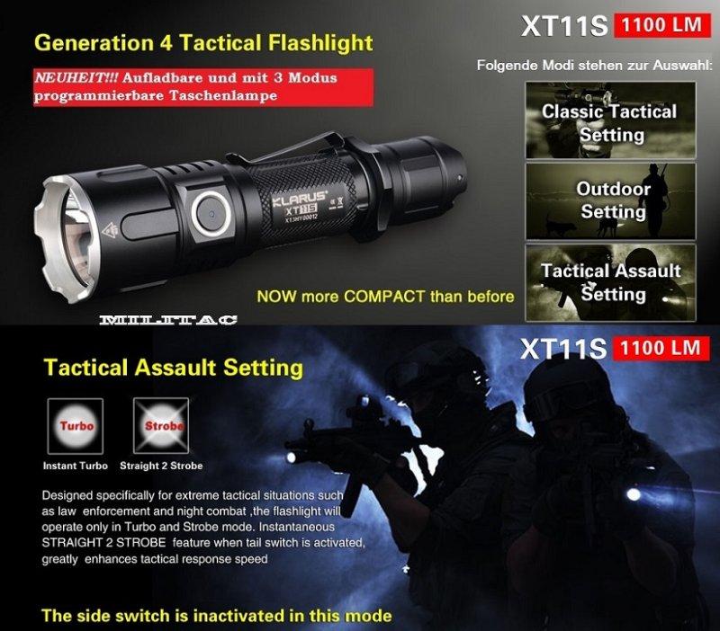 taktische led taschenlampe klarus xt11s 1100 lumen. Black Bedroom Furniture Sets. Home Design Ideas