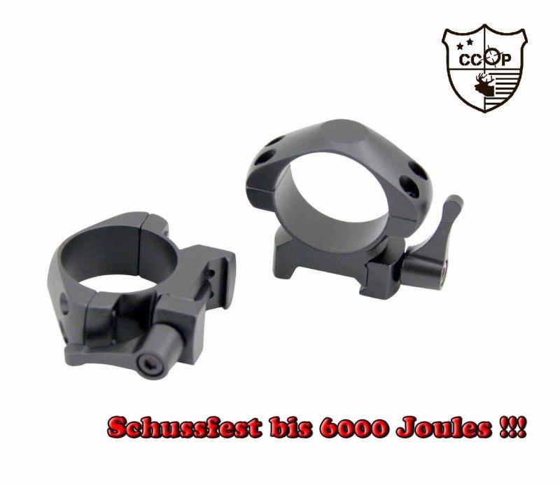 2x Niedrige Montageringe Zielfernrohr Picatinny 30mm Schnellverschluss